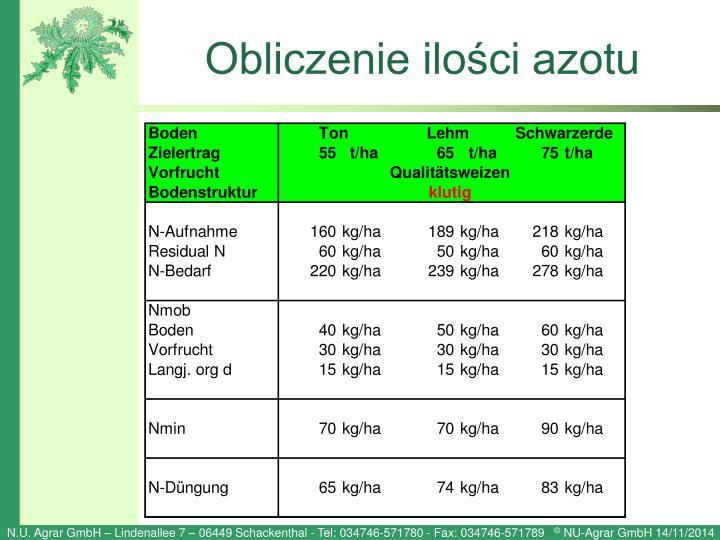 Obliczenie ilości azotu
