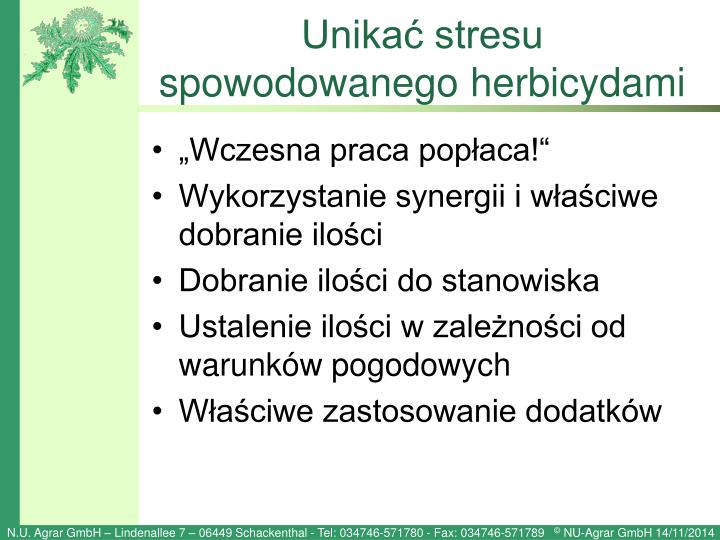Unikać stresu spowodowanego herbicydami