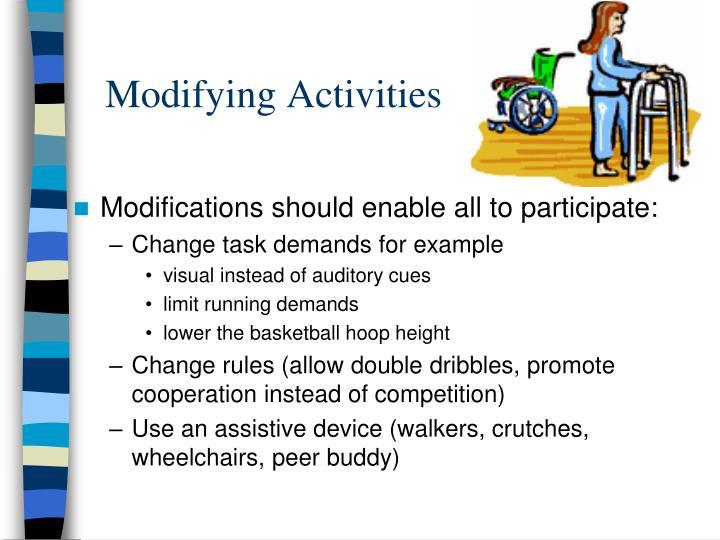 Modifying activities1