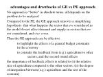 advantages and drawbacks of ge vs pe approach