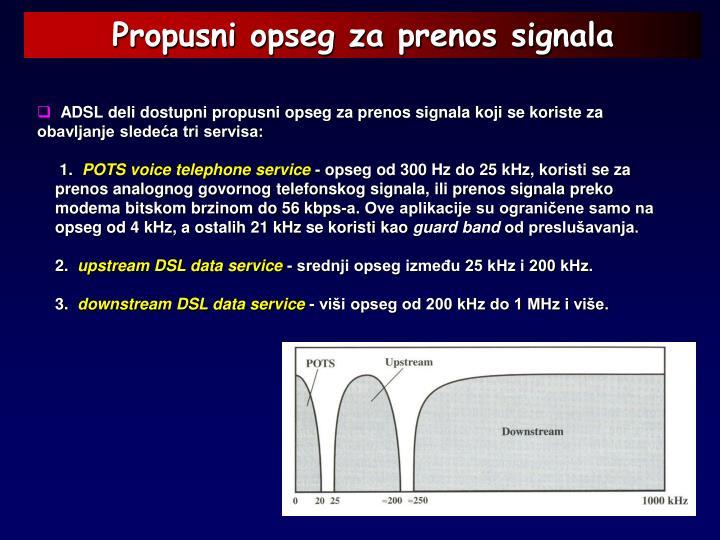 Propusni opseg za prenos signala