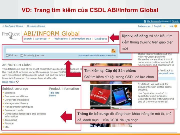 VD: Trang tìm kiếm của CSDL ABI/Inform Global