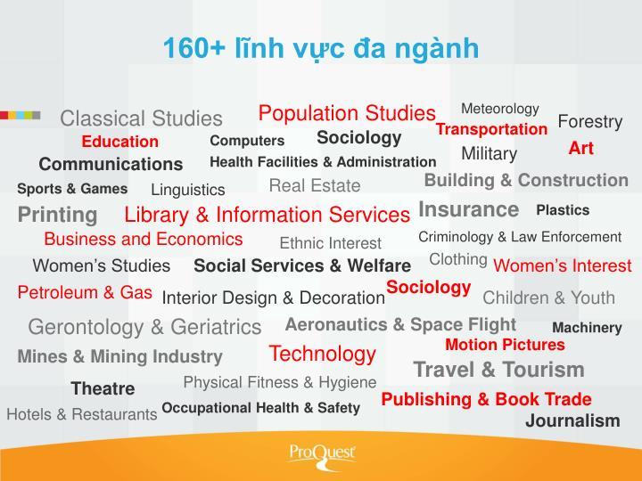 160+ lĩnh vực đa ngành