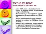 to the student how to prepare for the toefl test