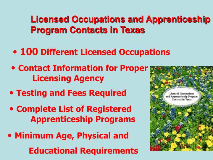 Licensed Occupations and Apprenticeship Program Contacts in Texas