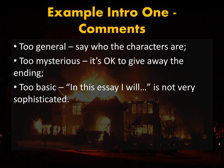 Example Intro One - Comments