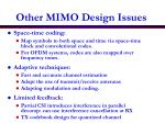 other mimo design issues