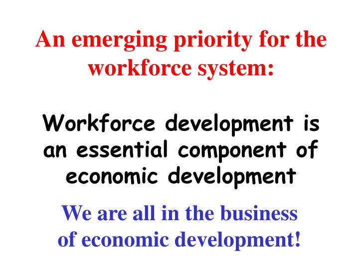An emerging priority for the workforce system: