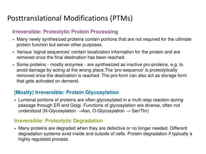 Posttranslational modifications ptms