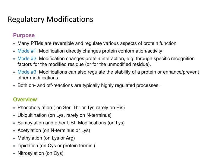 Regulatory modifications