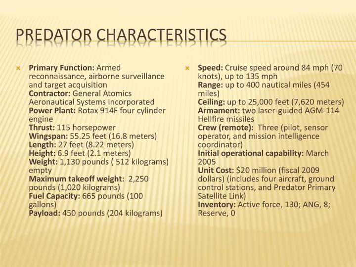 Predator Characteristics