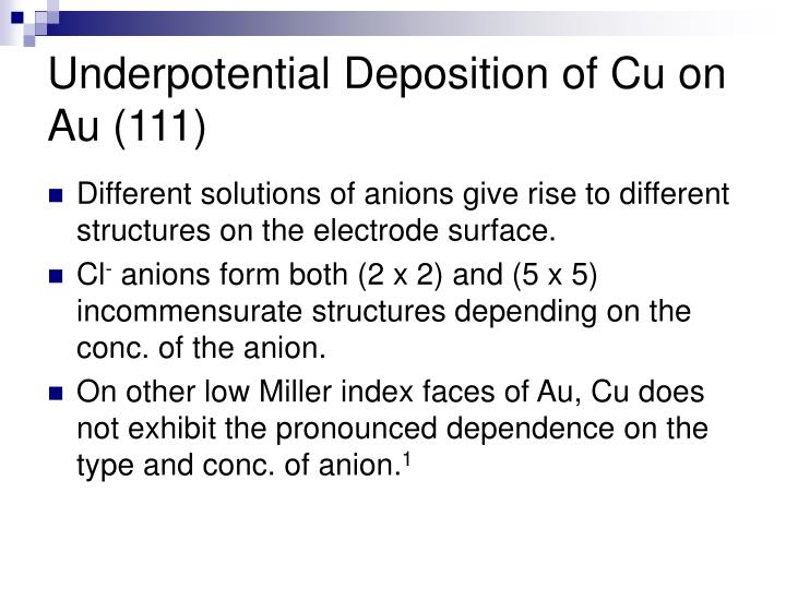 Underpotential Deposition of Cu on Au (111)
