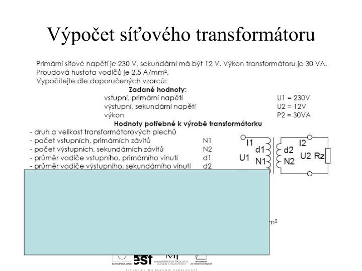 Výpočet síťového transformátoru