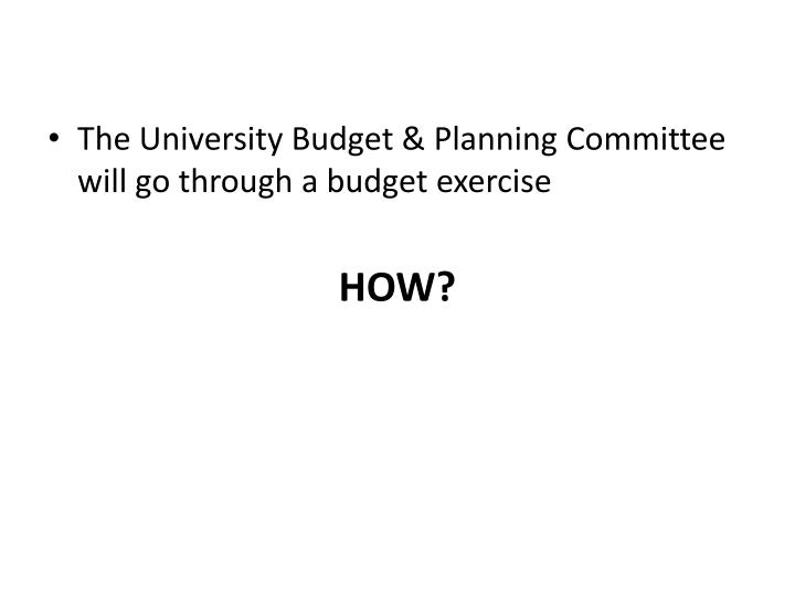 The University Budget & Planning Committee will go through a budget exercise
