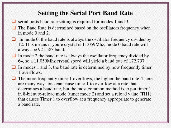 Setting the Serial Port Baud Rate