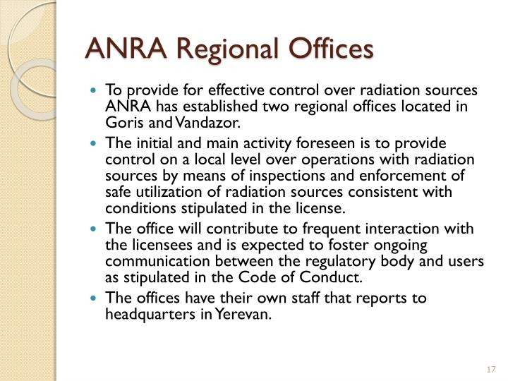 ANRA Regional Offices