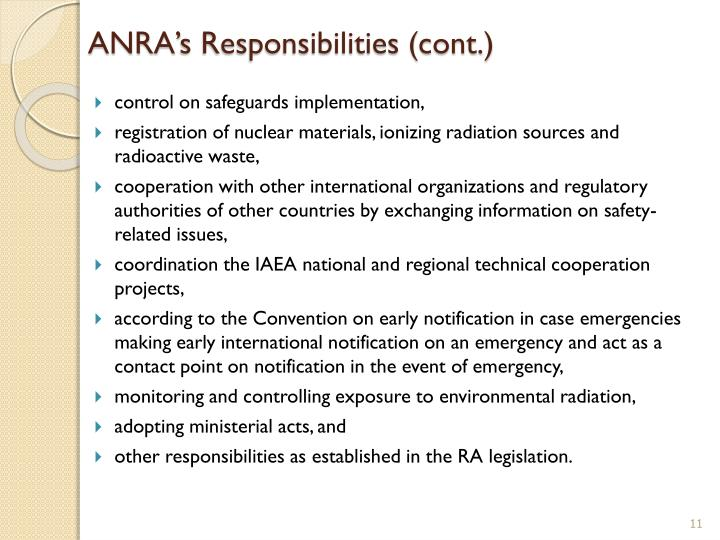 ANRA's Responsibilities (cont.)