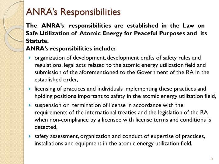 ANRA's Responsibilities