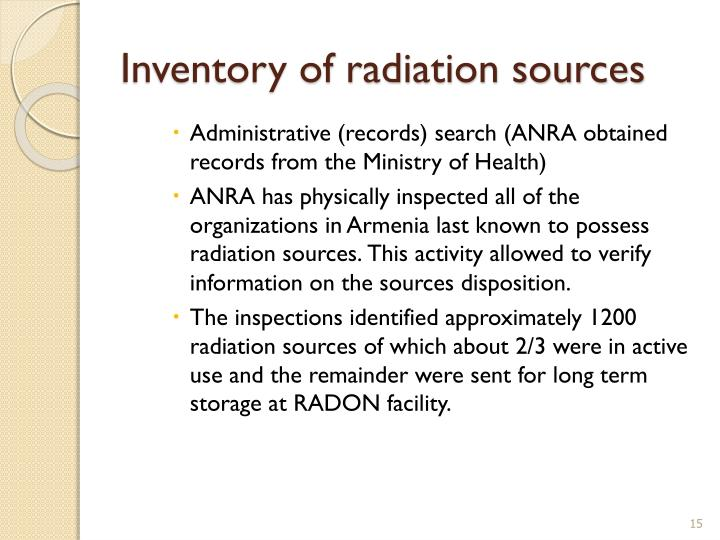 Inventory of radiation sources