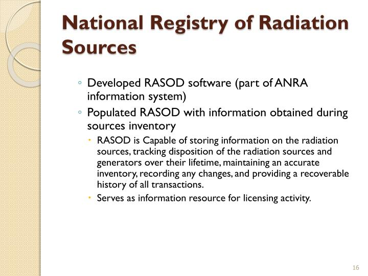National Registry of Radiation Sources