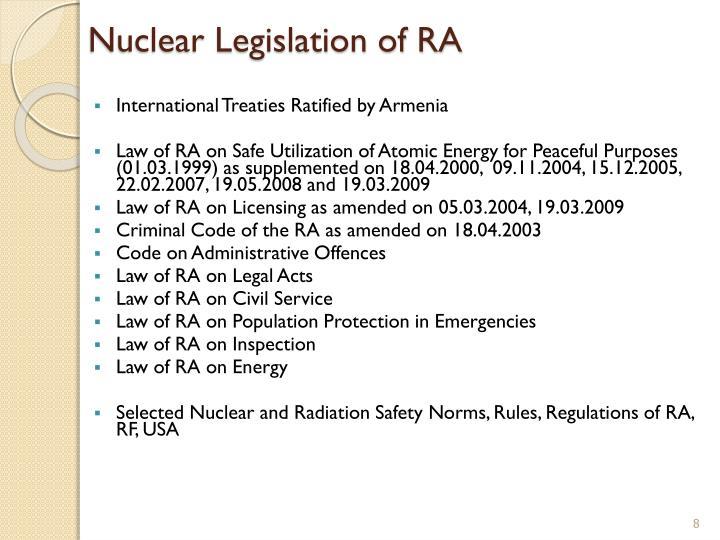 Nuclear Legislation of RA