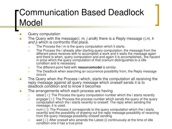 Communication Based Deadlock Model