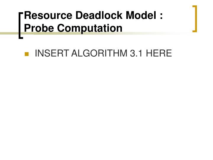 Resource Deadlock Model : Probe Computation