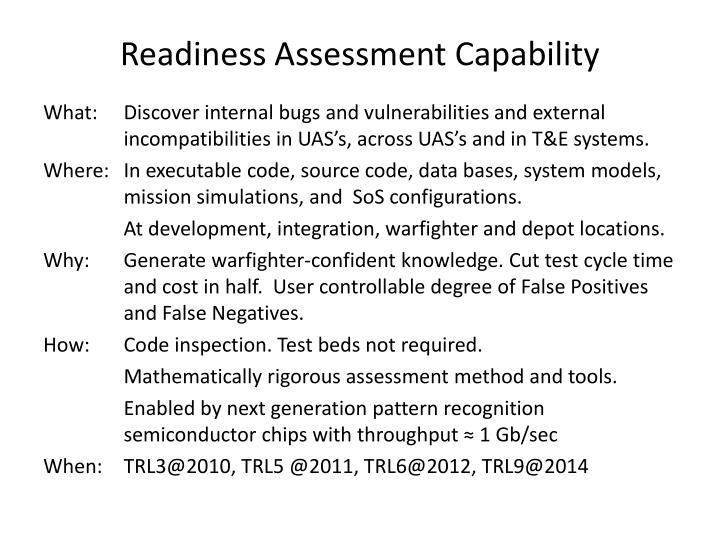Readiness Assessment Capability