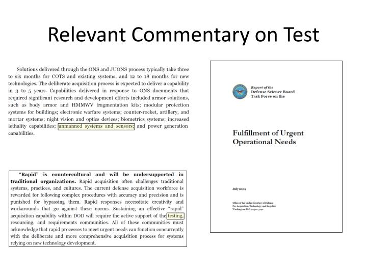 Relevant Commentary on Test