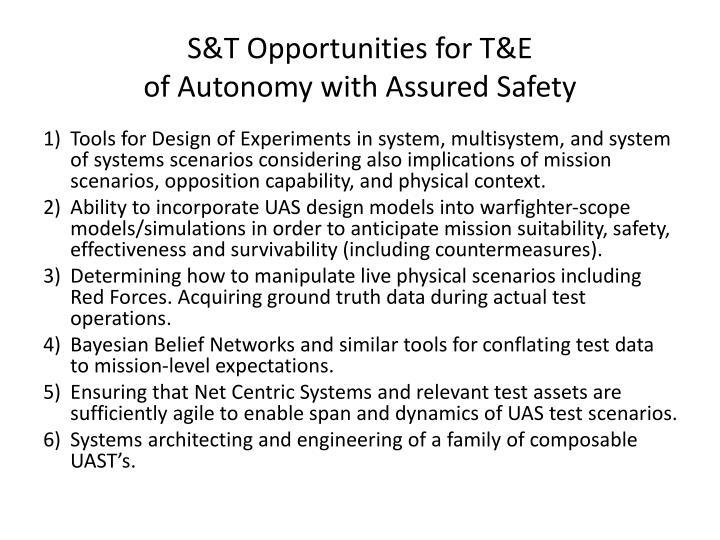 S&T Opportunities for T&E