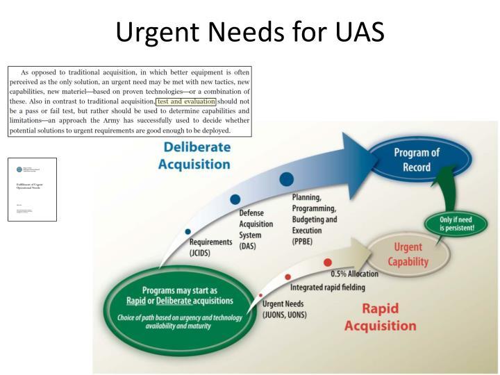 Urgent Needs for UAS