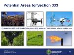 potential areas for section 333