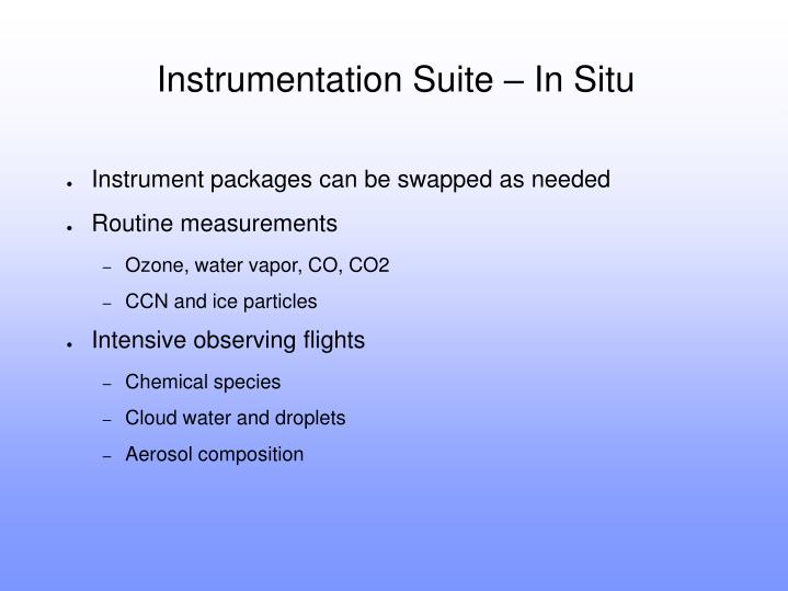 Instrumentation Suite – In Situ