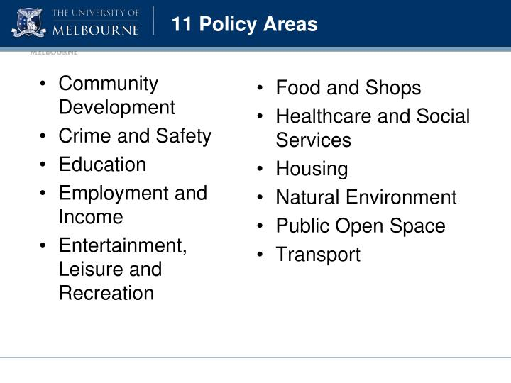11 Policy Areas