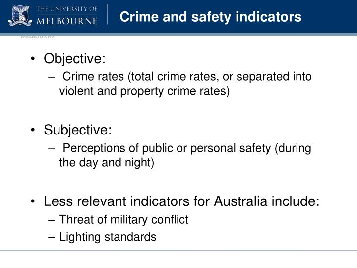 Crime and safety indicators