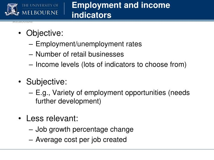 Employment and income indicators