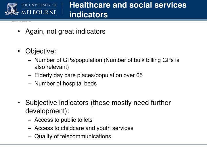Healthcare and social services indicators