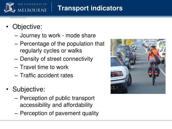 Transport indicators
