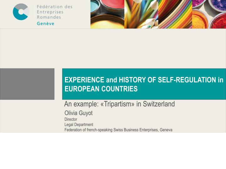 EXPERIENCE and HISTORY OF SELF-REGULATION in EUROPEAN COUNTRIES