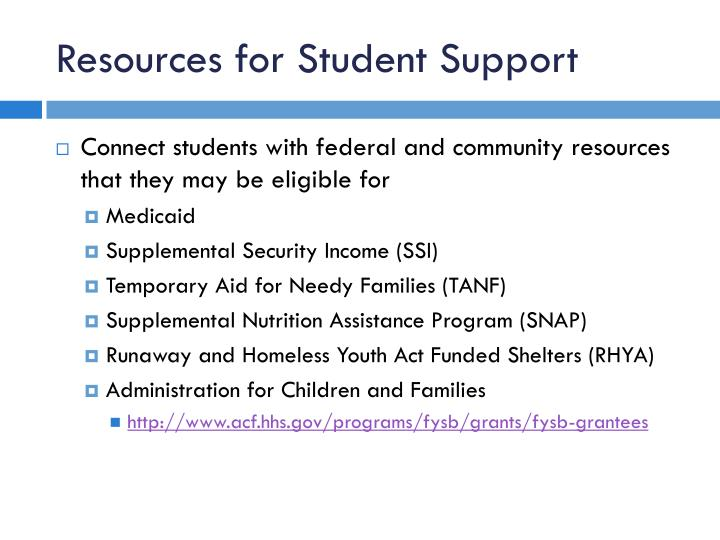 Resources for Student Support
