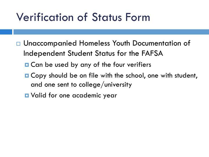 Verification of Status Form