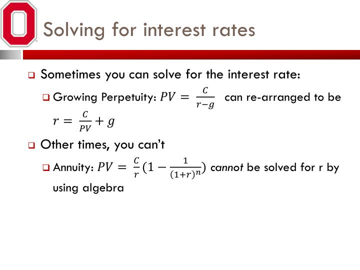 Solving for interest rates
