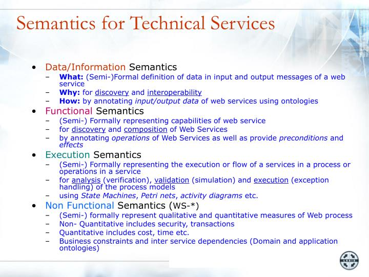 Semantics for Technical Services
