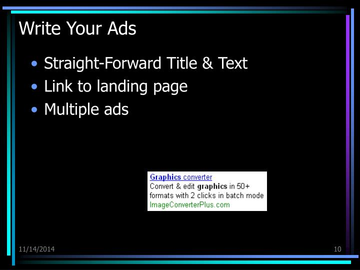 Write Your Ads
