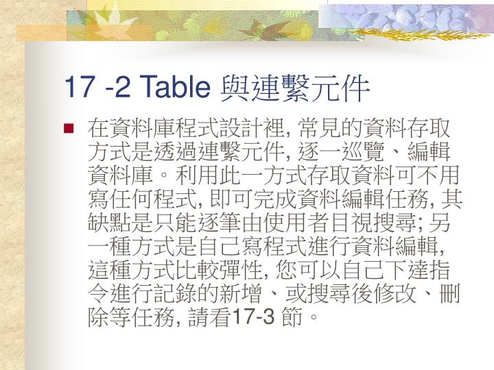 17 -2 Table