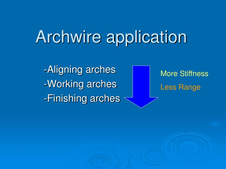 Archwire application