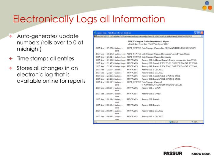 Electronically Logs all Information
