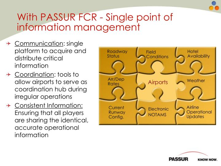With PASSUR FCR - Single point of information management