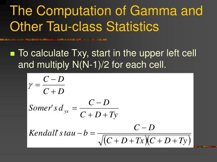 The Computation of Gamma and Other Tau-class Statistics