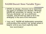 nasm doesn t store variable types
